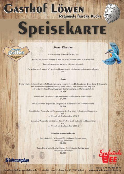 Speisekarte Gasthof Löwen Altbach Seite 1