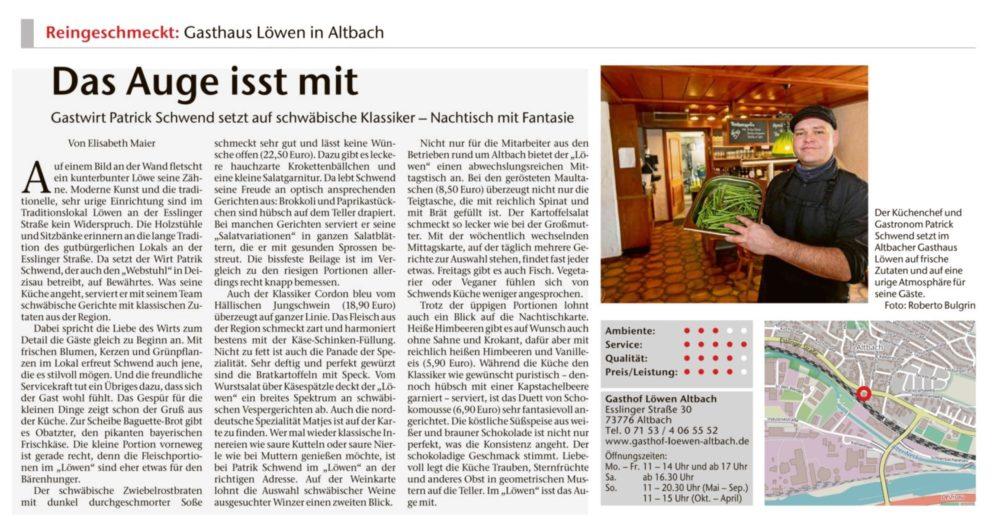 Bericht Esslinger Zeitung vom 11.3.20